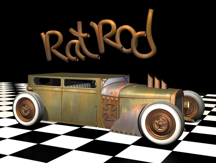 Rat Rod Sedan Digital Art  - Rat Rod Sedan Fine Art Print