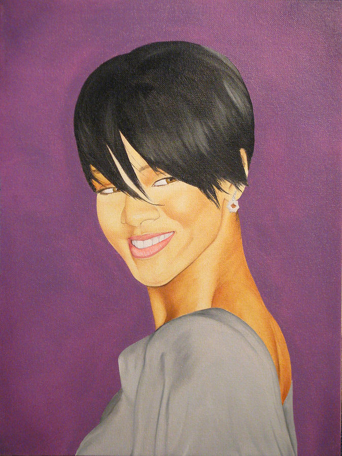Oil Painting - Rihanna by Neal Creapeau