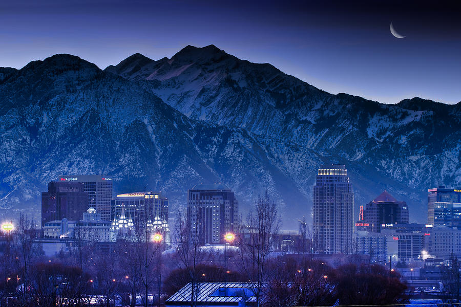 Salt Lake City Utah Skyline Photograph  - Salt Lake City Utah Skyline Fine Art Print