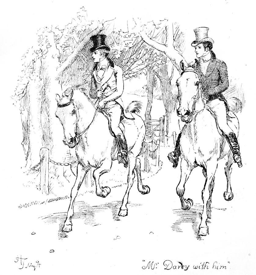 Mr; Darcy With Him; Illustration; Pride And Prejudice; Jane Austen; Illustrated; Edition; Mr; Bingley; Arriving; Longbourn; Visiting; Visit; Bennet Family; Bennett; Horse Riding; Horses; Georgian; Regency; Costume; Gentlemen; Gentleman; Propose; Elizabeth; Jane; Character Drawing - Scene From Pride And Prejudice By Jane Austen by Hugh Thomson