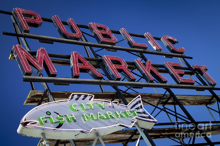 America Photograph - Seattle Market Sign by Brian Jannsen