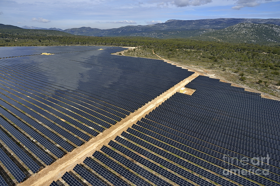 Solar Panels In Farm Photograph