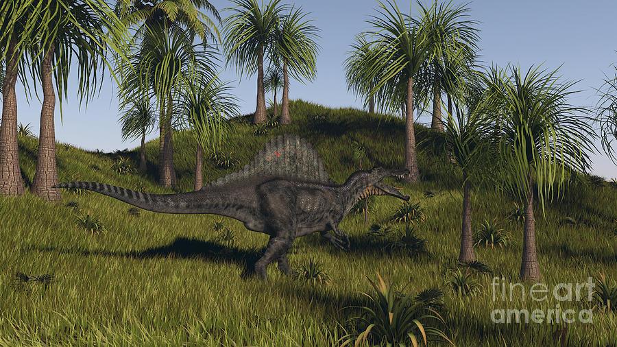Spinosaurus Hunting In An Open Field Digital Art