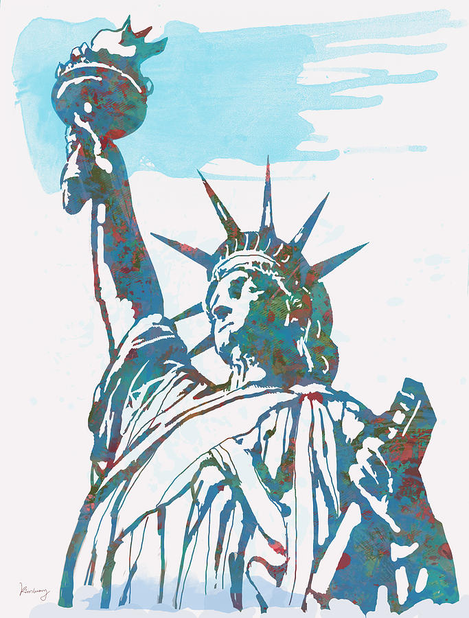 Statue Liberty - Pop Stylised Art Poster Drawing