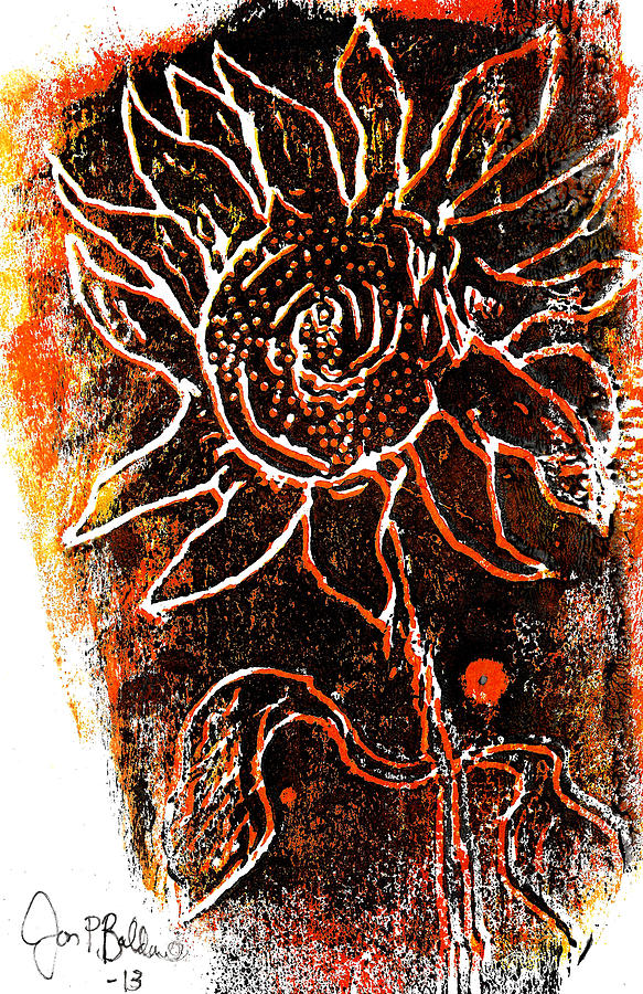 Woodcut Mixed Media - Sunflower  by Jon Baldwin  Art
