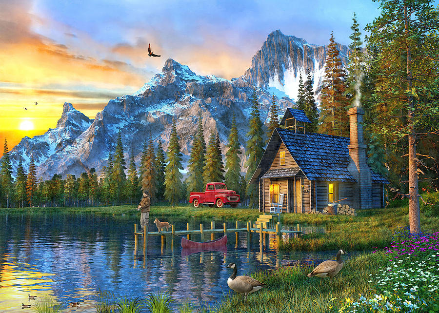 Sunset At Log Cabin Painting By Dominic Davison
