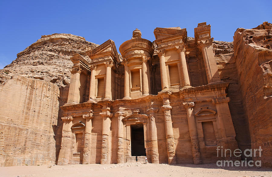 The Monastery Sculpted Out Of The Rock At Petra In Jordan Photograph