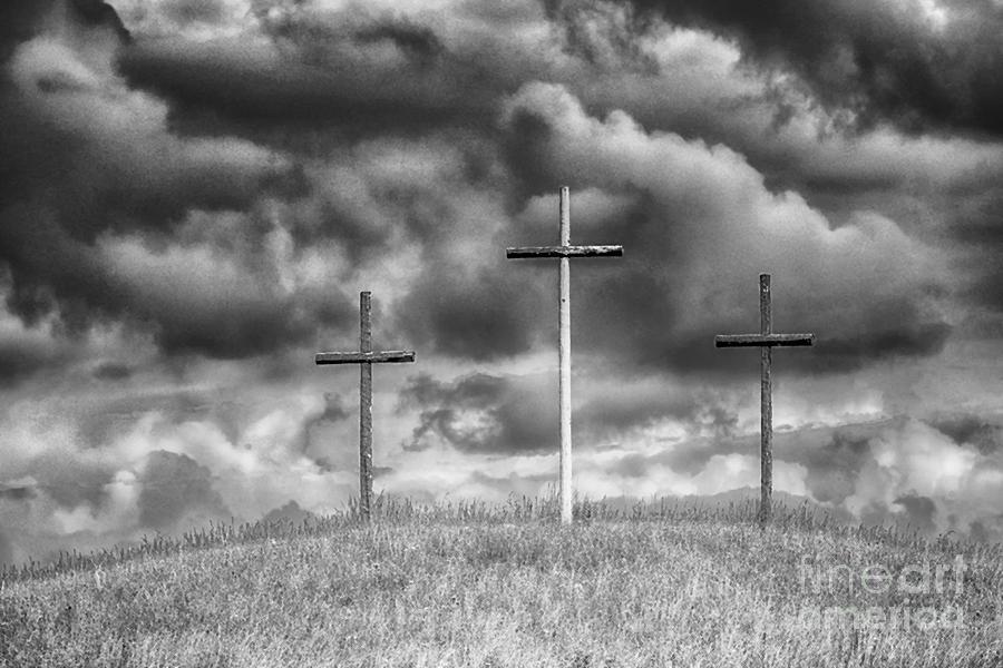 Three Crosses On Hill Photograph