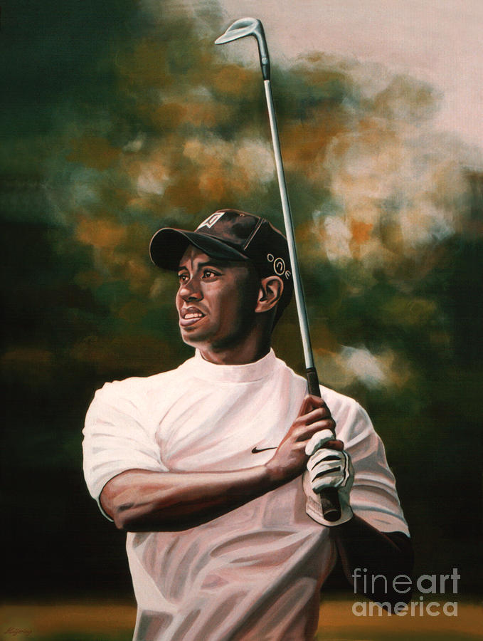 Tiger Woods  Painting  - Tiger Woods  Fine Art Print