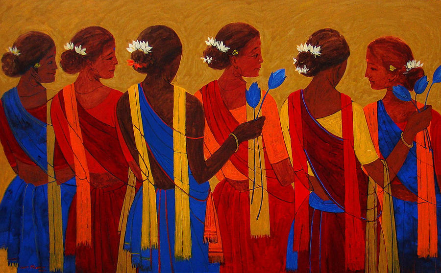 Tribal Women Painting  - Tribal Women Fine Art Print