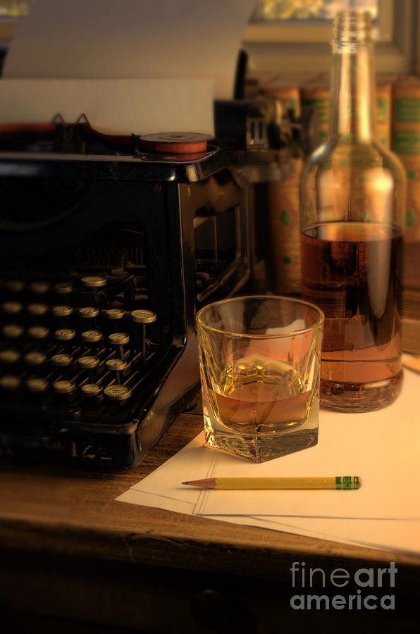 Typewriter And Whiskey Photograph