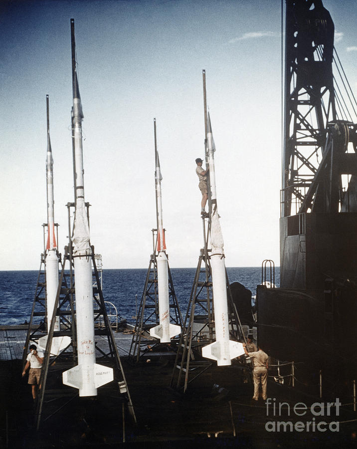 1958 Photograph - Us Navy Rockets 1958 by Granger