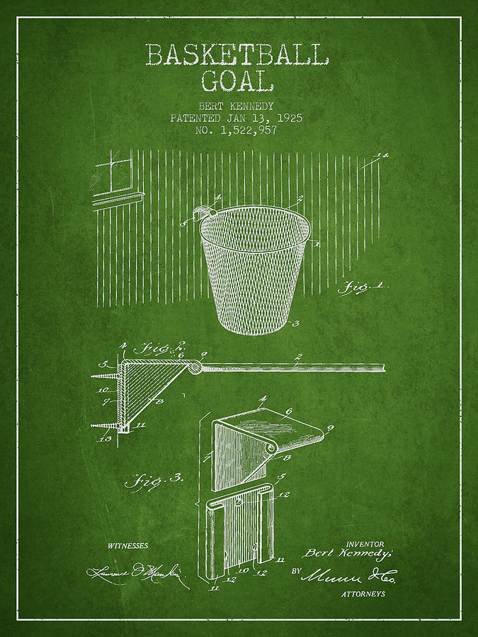 Vintage Basketball Goal Patent From 1925 Photograph