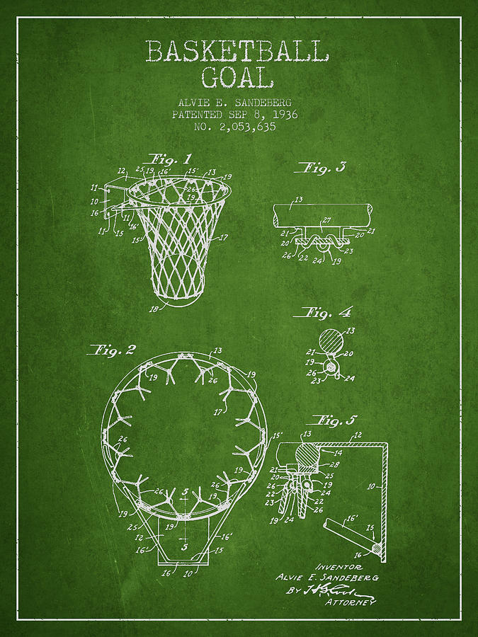 Vintage Basketball Goal Patent From 1936 Drawing