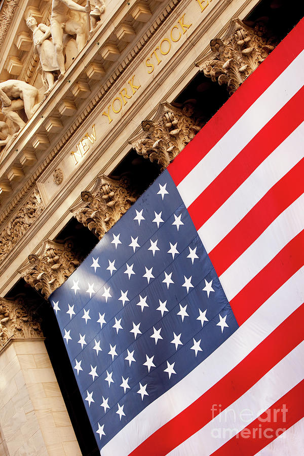 Wall Street Flag Photograph  - Wall Street Flag Fine Art Print