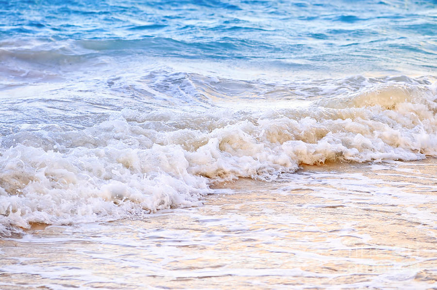 Waves Breaking On Tropical Shore Photograph