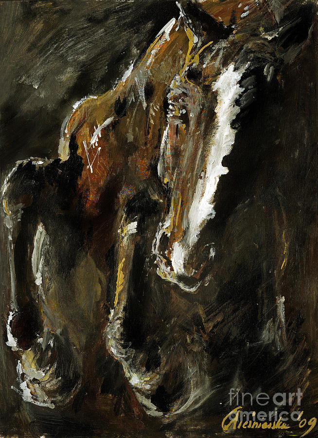Horse Painting - Wild Heart by Angel  Tarantella