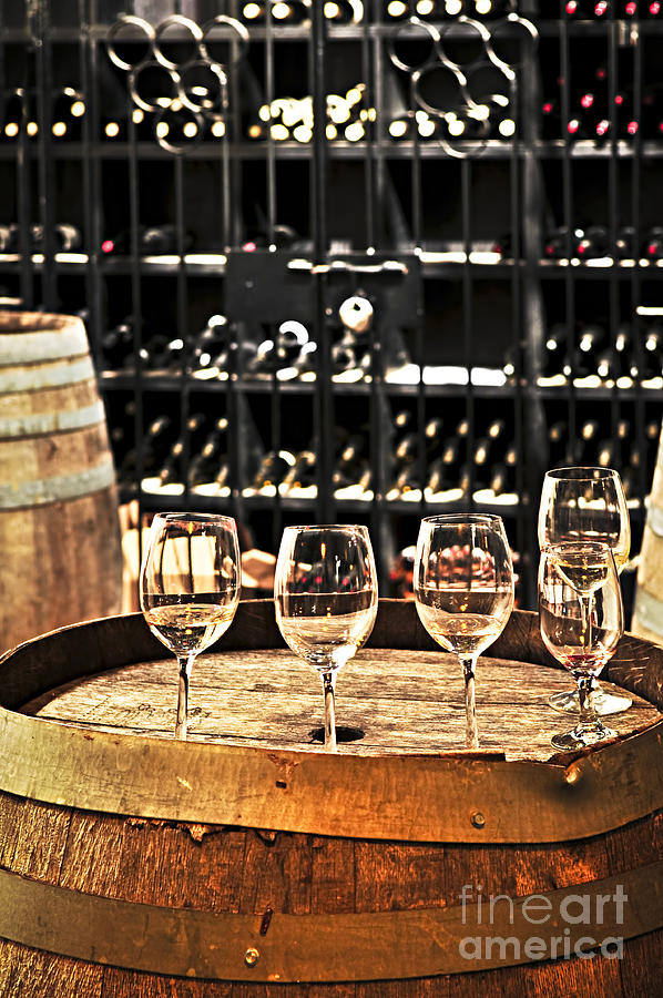 Wine Glasses And Barrels Photograph