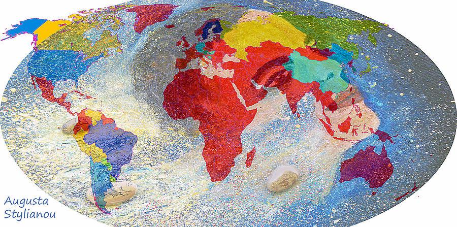 World Map And Barack Obama Stars Painting