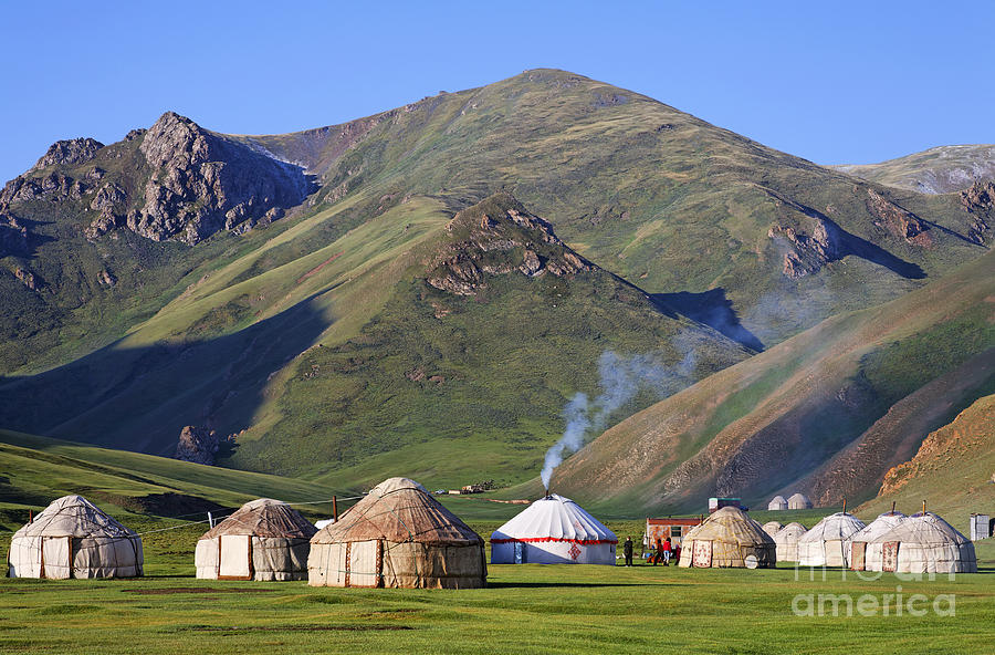 Tash Photograph - Yurts In The Tash Rabat Valley Of Kyrgyzstan  by Robert Preston