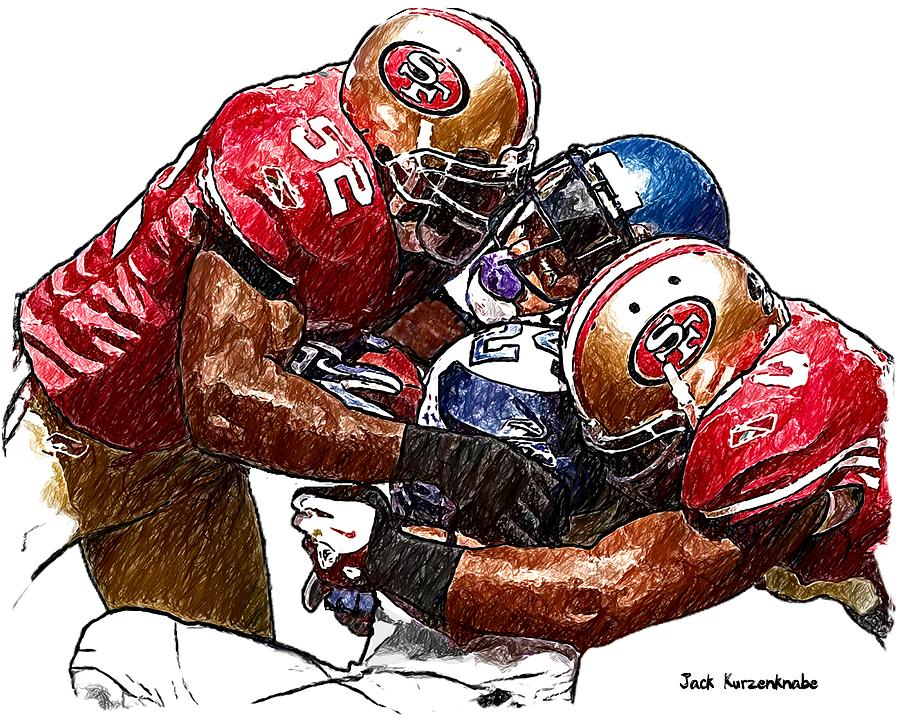 Sports Nfl Art Sketch Drawings nfl Art nfl Artwork nfl Drawings nfl Sketches san Francisco 49ers seattle Seahawks San Francisco 49ers Navorro Bowman And Patrick Willis Seattle Seahawks  Michael Robinson Digital Art - 300 by Jack K
