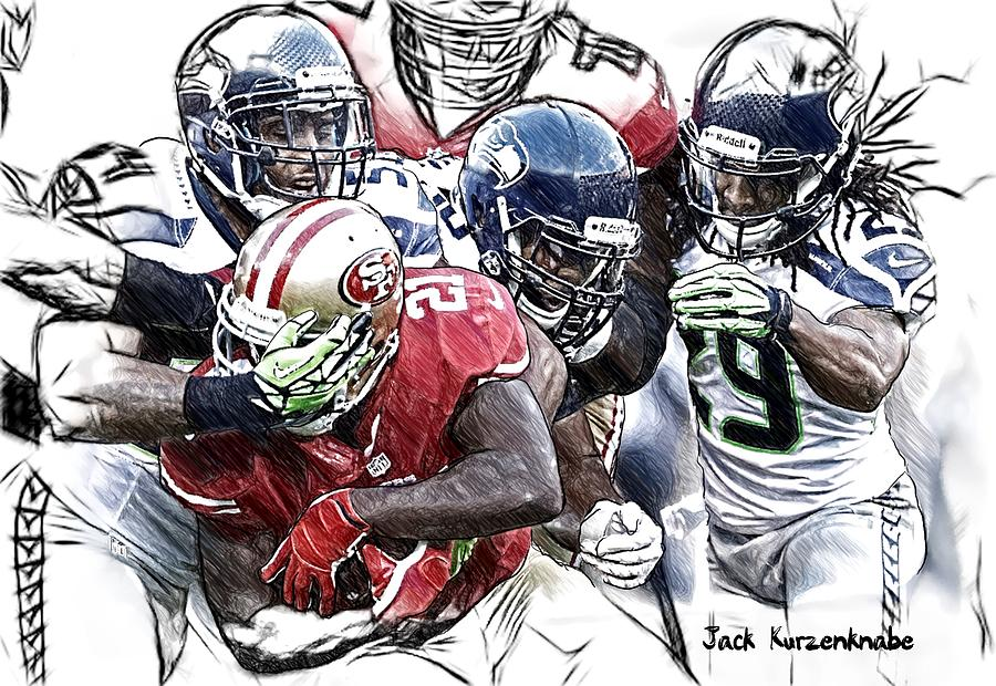 Sports Nfl Art Sketch Drawings nfl Art nfl Artwork nfl Drawings nfl Sketches san Francisco 49ers seattle Seahawks San Francisco 49ers Frank Gore  Seattle Seahawks Bobby Wagner  K J Wright  Earl Thomas Digital Art - 301 by Jack K