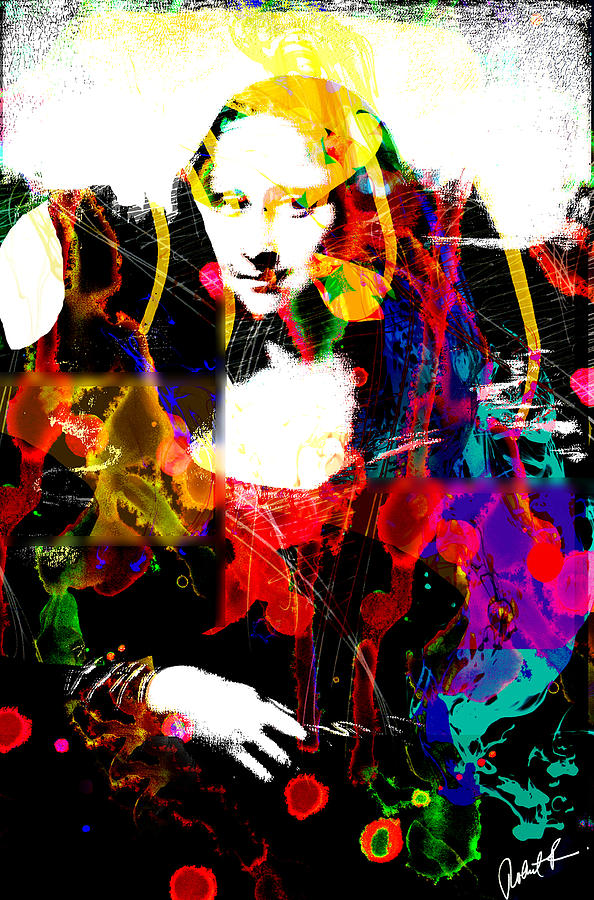 31x48 Mona Lisa Screwed - Huge Signed Art Abstract Paintings Modern Www.splashyartist.com Painting