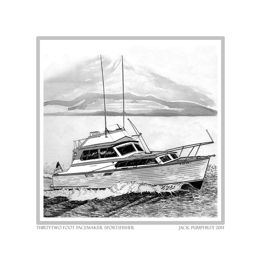 Yacht Portraits Drawing - 32 Foot Pacemaker Sportsfisher by Jack Pumphrey