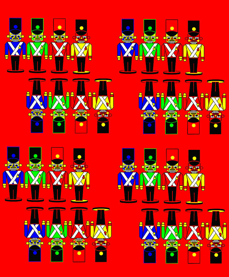 32 Nutcracker Soldiers On Red Digital Art  - 32 Nutcracker Soldiers On Red Fine Art Print
