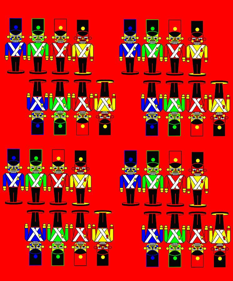 32 Nutcracker Soldiers On Red Digital Art