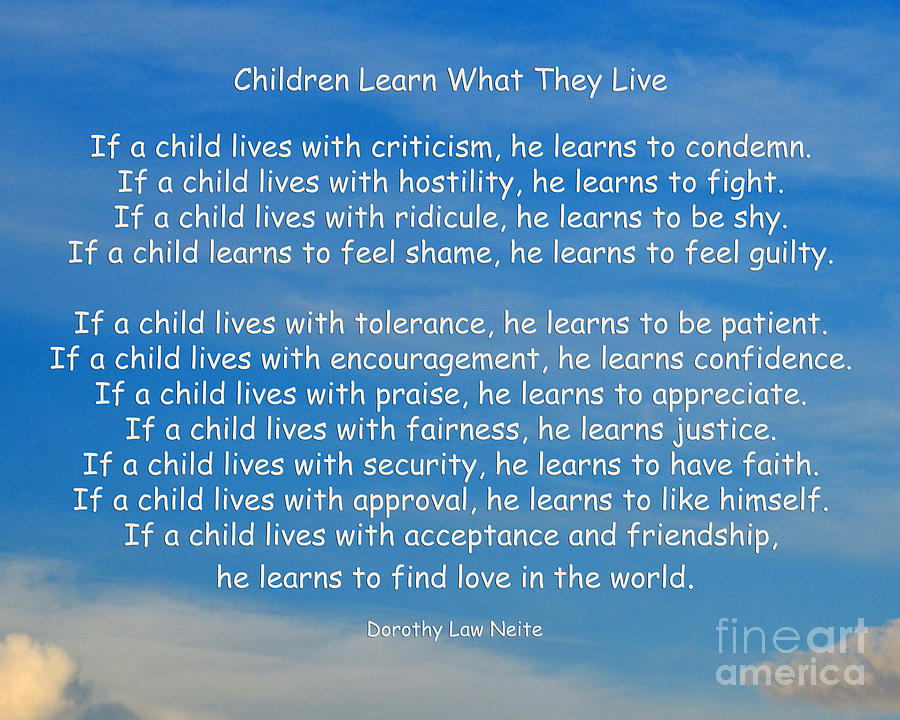 Children Photograph - 33- Children Learn What They Live by Joseph Keane