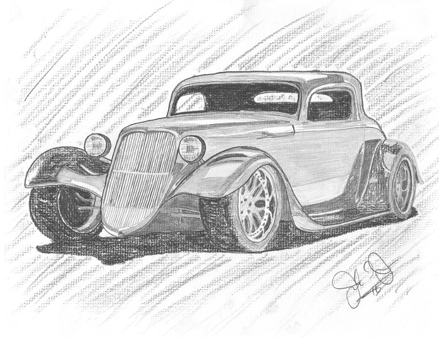 33 Hot Rod Drawing  - 33 Hot Rod Fine Art Print