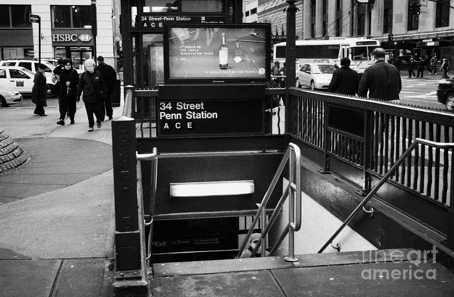 34th Street Entrance To Penn Station Subway New York City Photograph