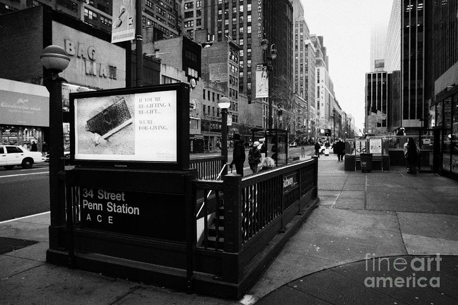 34th Street Entrance To Penn Station Subway New York City Usa Photograph