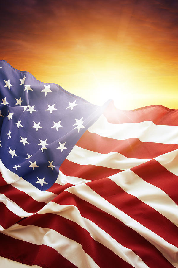 Sun Photograph - American Flag by Les Cunliffe