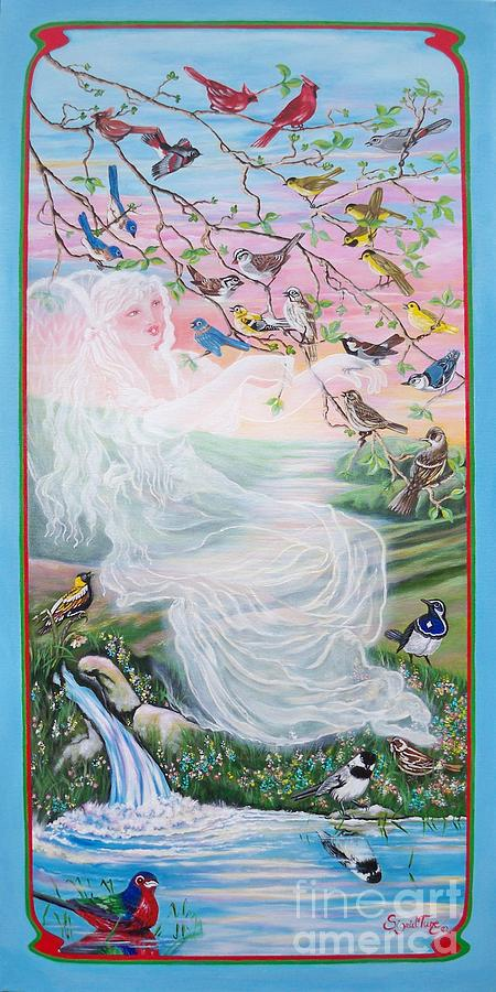 380  Whistling Angel And Birds Painting