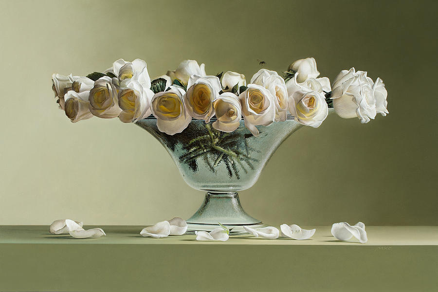 Photorealistic Painting - 39 Roses by Mark Van crombrugge