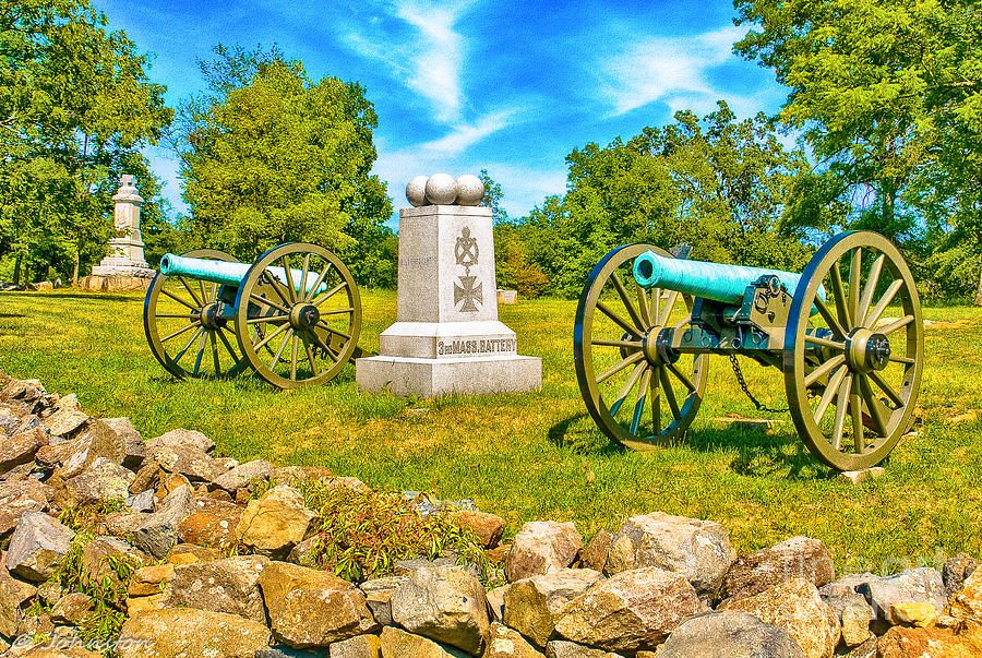 Civil Photograph - 3rd Massachusetts Battery Gettysburg National Military Park by Bob and Nadine Johnston