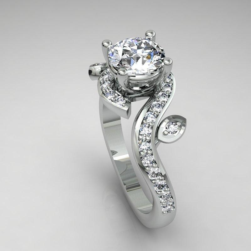 14k White Gold Diamond Ring With Moissanite Center Stone Jewelry