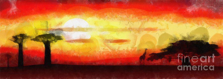 Africa Sunset Mixed Media