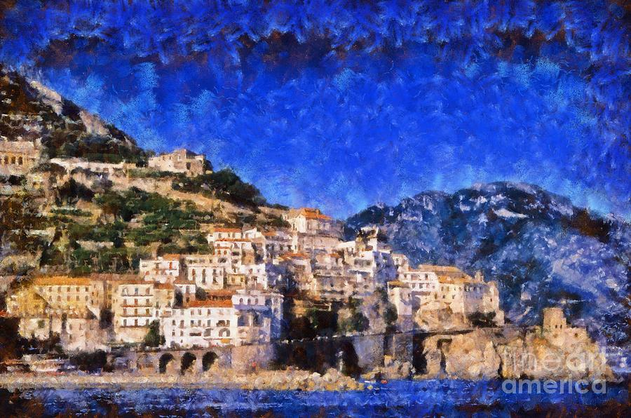 Amalfi Town In Italy Painting