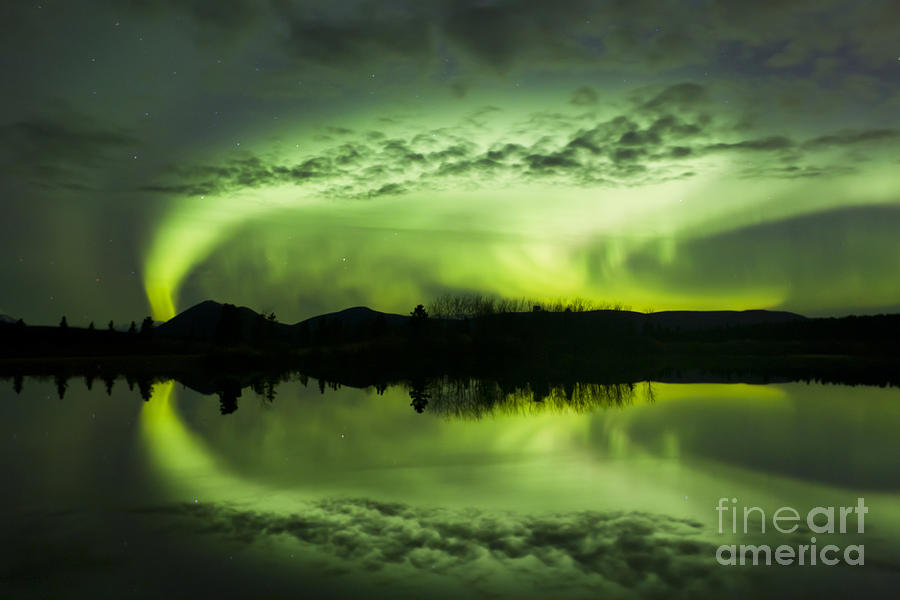 Aurora Borealis Over Fish Lake Photograph  - Aurora Borealis Over Fish Lake Fine Art Print