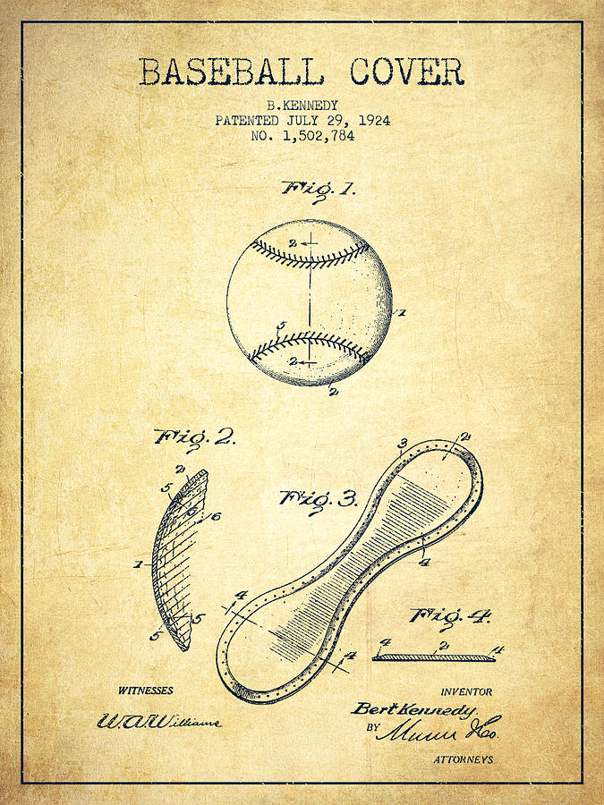 Baseball Patent Drawing - Baseball Cover Patent Drawing From 1924 by Aged Pixel