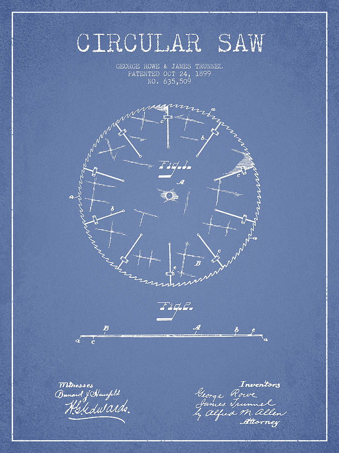 Circular Saw Patent Drawing From 1899 Drawing