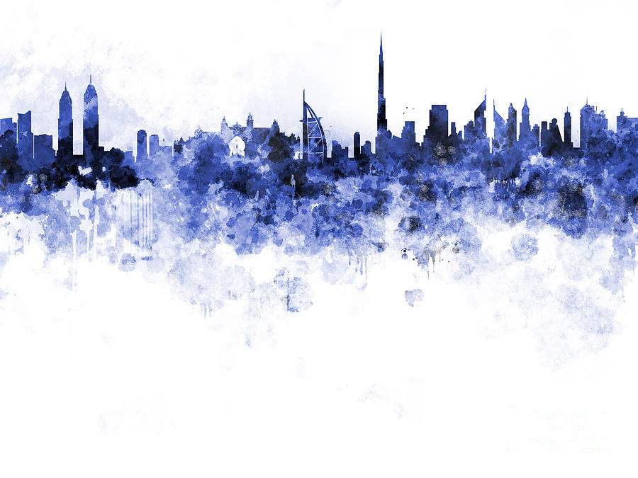 Dubai Skyline In Watercolour On White Background Painting