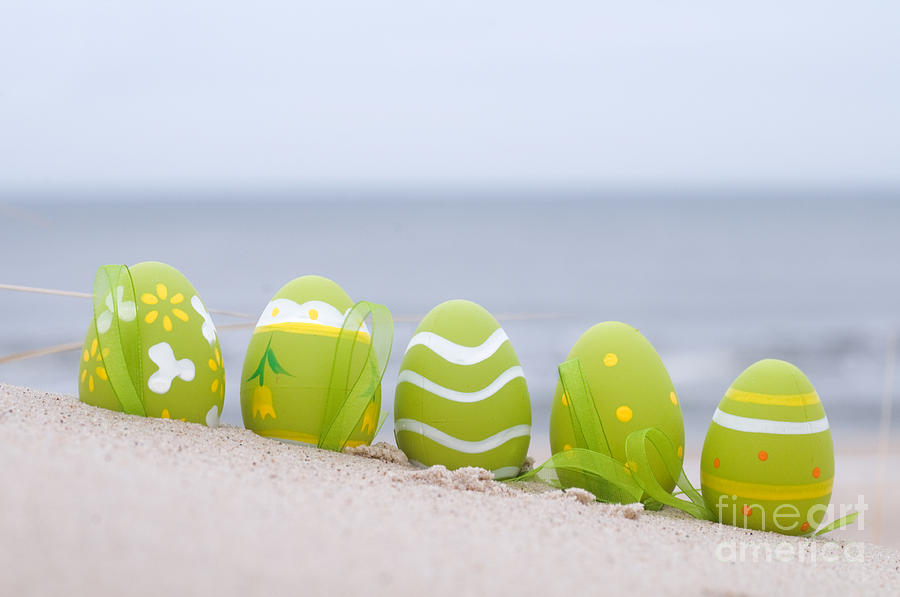 Easter Decorated Eggs On Sand Photograph  - Easter Decorated Eggs On Sand Fine Art Print