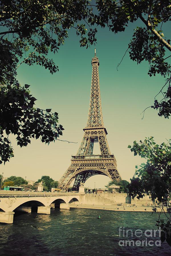Eiffel Tower And Bridge On Seine River In Paris Photograph