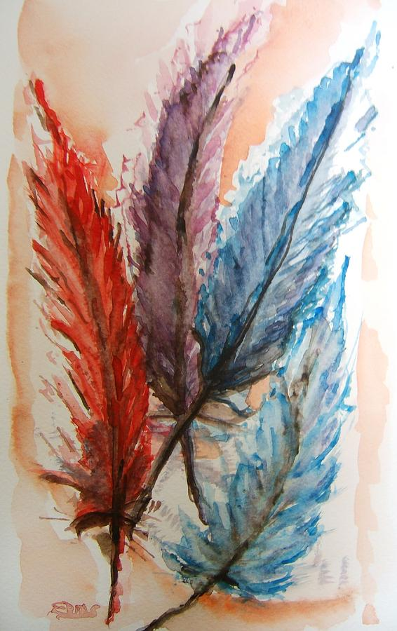 4 feathers painting by elaine duras for Painting feathers on canvas