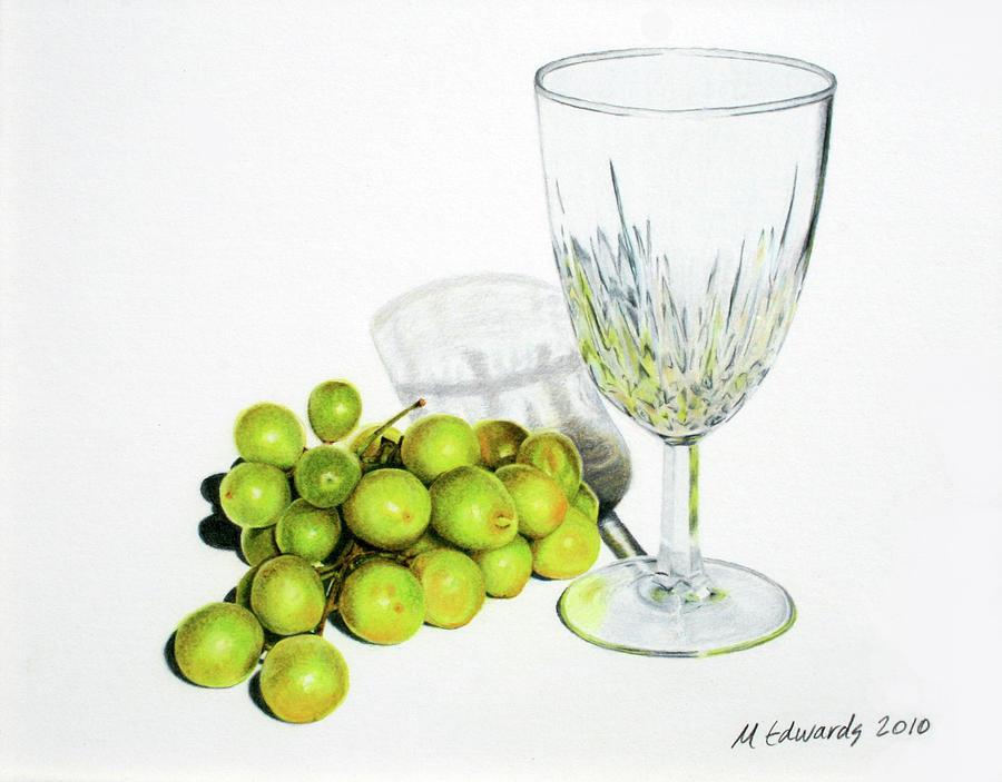 Grapes And Crystal Drawing