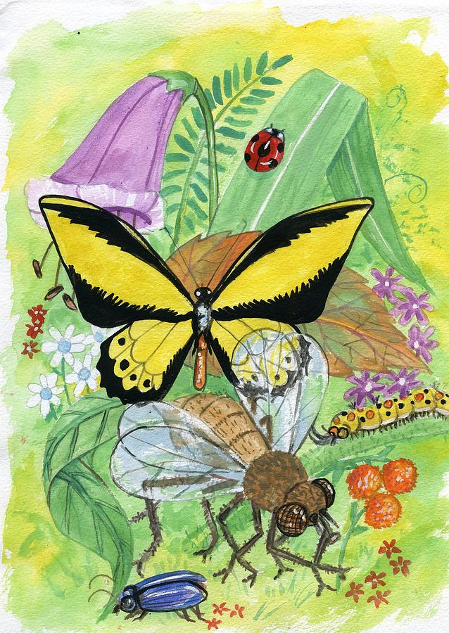 The Butterfly Painting - Insects by Charles Dey